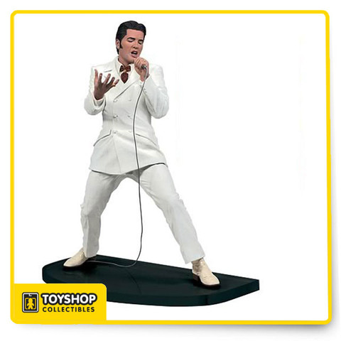 "You can almost feel the soulful lyrics eminating from this detailed collector's item. From the final song of the '68 Special, this Elvis figure commemorates the King of Rock 'n Roll as he sings his his first televised gospel performance. Figure measures 6"" tall."