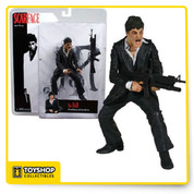 "Tony Montana ""the fall"" action figure with machine gun and removable clip."