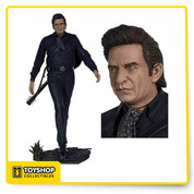 Very detailed sculpt of Rock N Roll Hall of Famer, Johnny Cash. Comes with figure, train track figure base, and guitar.