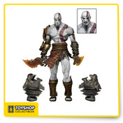 "To commemorate a decade of Sony's thrilling God of War video game series, we went back to the studio to create a definitive collector's edition: an all-new sculpt of Kratos from God of War III. This menacing 7"" scale action figure features over 30 points of articulation and an incredibly realistic sculpt. He's fully equipped to do battle with the gods themselves: accessories include two flaming Blades of Athena, two Cestus gauntlets, and two interchangeable head sculpts based on both the promotional art and in-game models for Kratos. Comes in collector-friendly deluxe window box packaging with opening flap."
