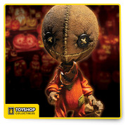 "Straight from the cult status film Trick 'r Treat comes Sam, the enforcer of the rules of Halloween. Part pumpkin, part supernatural being, Sam shows no mercy to those who disrespect his holiday.  This Sam is presented in our signature super-deformed style. He may look child-like and dressed for trick-or-treating, but Sam is the personification of Halloween itself. He stands nearly 6"" tall and features 5 points of articulation. He comes complete with his ever-present trick-or -treat sack, and his half-eaten translucent pumpkin lollipop.  Sam is packaged in a specially die-cut window box suitable for display. Just remember, he can watch you from inside the box, so don't blow out your pumpkin until midnight."
