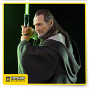 Qui-Gon Jinn from The Phantom Menace   Produced based on original movie references  Made on Polystone  Hand painted  *Saber does not light*  accompanying base