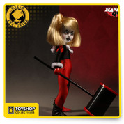 "LDD Presents Harley Quinn Unmasked Variant- Presented in all her deranged beauty, this Harley Quinn features her wild trademark pigtails and crazed stare. Wearing her traditional red and black harlequin clown costume Harley is ready to do whatever ""Mistah J"" needs. She comes complete with her oversized hammer, perfect for squashing any pesky bats who try to ruin her puddin's fun.  Harley Quinn is fashioned on our signature LDD presents body. She stands ten inches tall and features five points of articulation. She comes packed in a specially die cut window box perfect for display, but just like Arkham, it may not hold her for long."