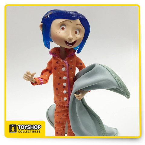 """Bring home the weird world of Coraline! From the stop-motion movie adaptation of Neil Gaiman's best-selling book, this deluxe display set comes with a 7"""" clothed Coraline bendy doll, and folds out to create a fun and spooky scene. It even features green LED lights to add eerie ambiance! Coraline is dressed in colorful fabric pajamas and has a blanket accessory and a clear stand. The LED lights can be turned on and off via a hidden switch (located in the bottom of the box) and use button cell batteries, included. When open, the display is approximately 9.25"""" high with a 14"""" W x 10.75"""" D footprint. The entire piece folds back into its own box for easy storage or portability. The closed box measures approximately 7.55"""" W x 2.6"""" D x 9.25"""" H.   –Limited edition of 3,000"""