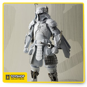articulated action figure of STAR WARS character (Boba Fett, in Japan-stylised white prototype armour, designed by Takayuki Takeya); accessories (blaster rifle, Japanese sword set, weapons set, 4x interchangeable hands); presentation box; SDCC exclusive sticker