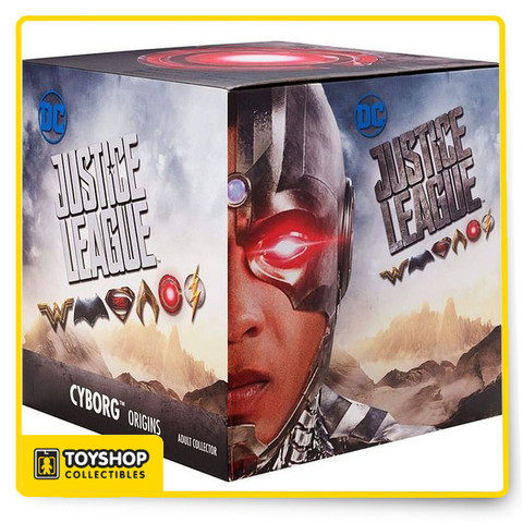 """Activate alien tech power with this exclusive Cyborg™ figure from the new Justice League™ movie! Dr. Silas Stone saved his son Victor with a mysterious Mother Box and now you can connect and engage his super human mechanics. The 6-inch, highly detailed deluxe Cyborg™ figure comes suspended in Man's World styled Mother Box packaging. Press a button at the base and see the action figure's torso and left eye light up in red LED. Authentic lab tech sounds play as the lights flash, the Mother Box becomes active and Victor Stone™ becomes Cyborg™! The figure features updated silver colored power suit, iconic White Noise Cannon arms and a translucent mask and chest to recreate authentic on screen action. Join Cyborg™ and the Justice League™ team as they battle evil forces to save mankind!  Exclusive, authentic 6"""" scale Cyborg™ action figure from the new Justice League™ movie. 20 points of articulation for epic story play and posing. Iconic details include red and silver colored power suit with translucent Electro-eye mask and torso. Comes in Man's World styled Mother Box packaging. Button activates Mother Box's red LED lights and sounds."""