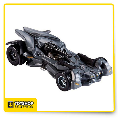 "Teaming up with the Justice League™, Batman™ brings a heavily enhanced Batmobile™ with upgraded technological advances into battle! Including a ""rail-mounted"" gun on the windshield that rotates from left to right, this solid die-cast edition features Real Riders wheels.  The new Batmobile™ will come in an exclusive Justice League™-themed package worthy of display, but it is so secret we can't show it to you yet. You won't find this special edition die-cast vehicle on the streets of Gotham City™ – only at San Diego Comic-Con."