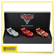 Step inside the exciting world of toy design with this unique Disney•Pixar's Cars 3 collector's set! Three 1:55 scale die-cast Lightning McQueen bodies represent the ascending stages of the champ's evolution! The first body shows the raw metal and plastic foundation of the car. The second enhances the car with added window deco and wheel rims. The third and final stage is the fully decorated, fine-tuned vehicle, with Lightning McQueen's expressive eyes, beaming grin, headlights and signature Rust-Eze logos. This exclusive, limited, Comic-Con set comes in a black, collectors' quality box with outside and inside graphics, hand sketches, and line art, showing Lightning McQueen—from rough development to final vehicle rendering.  Three 1:55 scale die-casts depict Lightning McQueen's vehicle development. Stage models include: raw metal and plastic foundation; Body with added decos and rims; and the fully finished champion racer. Black collectors' box has graphics, hand sketches, and line art of Lightning McQueen from early development to final vehicle rendering. Comic-Con Cars 3 exclusive and limited offering. Unique gift for collectors and fans of all ages!