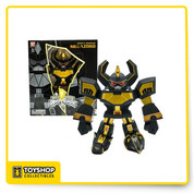 The Black and Gold Mighty Morphin Megazord is a striking new take on a pop-culture icon. Designed by acclaimed Japanese Vinyl artist TOUMA, this figure's sharp angular features and oversized forearms and hands make this limited edition figure a statement in Tokyo pop art. Produced in very limited quantity, this collectible figure is an essential addition to any Power Rangers collection! Available exclusively at the Bandai America booth at San Diego Comic-Con.