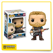 The Thor: Ragnarok trailer got everyone excited and it wouldn't be right if it didn't get some amazing new POPs! Thor has multiple POPs already but now you can get this Thor Gladiator Suit POP Vinyl to go in your collection. His hair is short and he's ready for battle, the perfect POP to guard your collection from the angry Gladiator Hulk!