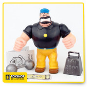 Popeye the Sailorman Bluto action figure with barbell and 2000 lbs weight from Mezco.