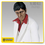 Considered the ultimate gangster film, an unforgettable portrayal of money, power, and extravagance, Scarface features Al Pacino's classic performance as ruthless Tony Montana. First released to theaters in 1983, this gripping crime epic transcends generations and continues to influence popular culture today.  Sideshow offers you this amazing 1/4th scale figure that features a stunning level of detail that will have any fan of this classic screaming with joy. This figure is only going to be produced in a very limited quantity so order now!
