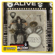 Includes: Peter Criss figure and drum set.No longer produced.The KISS Alive set includes: Gene Simmons (The Demon), Paul Stanley (Starchild), Ace Frehley (Space Ace), and Peter Criss (The Catman). Sold separately.