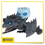 The terrifying Night King sits astride the resurrected dragon Viserion as they charge into Westeros. Funko brings the Night King and Viserion to Pop! with glowing blue eyes, the tattered wings of an undead dragon and an all-new frosty coloring. The Seven Kingdoms have never seen something so frightening, and neither has your collection.