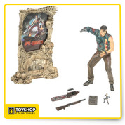 """The Movie Maniacs series from McFarlane Toys brings your favorite monsters, freaks and villains to life! This Series 3 Ash figure stands over 6 inches tall and comes with an official Movie Maniacs display stand.  """"Good ... bad ... I'm the guy with the gun."""" So speaks Ash, the swashbuckling anti-hero of Sam Raimi's Army of Darkness, a character McFarlane Toys fans have been clamoring for."""