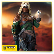 Hunters stalk the wilderness beyond the city, harnessing the Light to reclaim the secrets of our lost worlds. They are daring scouts and stealthy killers, expert with knives and precision weapons. Hunters blaze their own trails and write their own laws.  Destiny's Iron Banner Hunter comes equipped with the Thorn hand cannon and Hung Jury scout rifle. Fully customizable figure with 14+ points of articulation for dynamic posing. Stylized Destiny display base included.