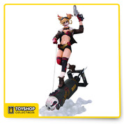 """The clown princess of crime, Harley Quinn, is once again reimaged, as a DC Bombshells statue, bringing the complete original Ant Lucia concept illustration to life as a deluxe 1940s-designed polyresin statue, measuring at 14.44"""" tall."""