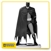 "Appearing in black and white, it's the Caped Crusader as he is seen in one of the most influential Batman stories of all time, BATMAN: YEAR ONE! This pose, designed by David Mazzucchelli, was used in one of the original promotional images for the book, and the artist himself was consulted for the production of this statue. The statue measures approximately 7.75"" high x 4.5"" wide x 2.75"" deep, is painted in monochromatic tones, features a Bat-logo-shaped base and is packaged in a black and white box."