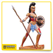 "DESIGNED BY AMANDA CONNER SCULPTED BY KAREN PALINKO Wonder Woman, a symbol of strength and empowerment for women everywhere, comes to life like never before in this exclusive ART OF WAR statue produced by an all-star, all-female creative team including designer Amanda Conner, sculptor Karen Palinko, painter Kim Dullaghan and art director Janice Walker. This fierce God of War is ready for action! Limited Edition of 5,200 Measures Approximately 8.25"" Tall"