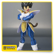 "An iconic scouter crushing scene, high demand in S.H.Figuarts Dragonball surveys and encouraging fan reactions to a diorama that debuted at San Diego Comic-con were all factors in the selection of Vegeta as the next Tamashii Nations S.H.Figuarts Dragonball figure. While the Super Saiyan Vegeta received high-praise this Normal version of Vegeta features many accessories and option parts that have previously been requested by fans. In response to these requests S.H.Figuarts Vegeta will feature folded arm parts, four interchangeable hand parts as well as special interchangeable ""scouter crushing"" hand part, three interchangeable face parts as well as head part with scouter attached, tail parts, effect parts and special support stand for effect parts. Figure stands approximately 6 inches tall."