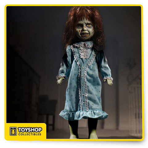 The Exorcist burst onto the cinematic scene in 1973 and quickly cemented its place in film history as the 1st horror film nominated for an Academy Award.  The film tells the terrifying story of the demonic possession of a young girl and her Mother's attempts to win back her child through an exorcism conducted by two priests.  Now The Living Dead Dolls welcome the tormented youth into their family with a new doll that is sure to make heads spin. Based on the groundbreaking FX used in the film to portray demonic possession, The Living Dead Dolls have created an all-new head sculpt to capture the instantly recognizable appearance of the main character.  The devil is in the details and each of them have been captured here;  from her wild hair and crazed eyes to her maniacal grin.  Not only has her screen accurate floral pattern nightgown been recreated, but the HELP ME inscription on her stomach has been reproduced as well.  The Living Dead Dolls Present The Exorcist stands 10 inches tall, has real cloth clothing,  rooted hair, and features 5 points of articulation. She comes packaged in a specially die-cut window box featuring  graphics from the horrifying  cinematic masterpiece.