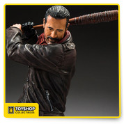Leader of the group known as The Saviors, Negan is one of the most merciless enemies to ever cross paths with Rick Grimes and the other survivors. With no remorse, Negan executes those who get in his way with his weapon of choice, Lucille. With the barrel end wrapped in barbed wire, Lucille is the iconic baseball bat that Negan wields to not only intimidate others, but eliminate them as well.  Figure stands 10″ tall and comes equipped with a in-scale Lucille bat. Negan is sculpted in his iconic outfit from Season 7 of AMC's The Walking Dead. Black circular base included.