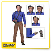 "From the hit Starz TV series, Ash vs. Evil Dead! The series follows Ash, stock boy, aging lothario and chainsaw-handed monster hunter who spent 30 years avoiding responsibility, and the terrors of the Evil Dead. NECA has given Ash the Ultimate action figure treatment—he comes with four interchangeable head sculpts, chainsaw, mechanical hand, wood hand, hand stump, photo of his car, and shotgun that fits in a back holster… Everything he needs to fight a plague of Deadites. The 7"" scale figure is highly articulated and comes in collector-friendly deluxe window box packaging with opening flap and bonus lenticular cover."