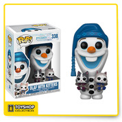Olaf from Disney's Olaf's Frozen Adventure is given a fun, and funky, stylized look as an adorable collectible Pop! vinyl figure from Funko - holding two adorable kittens! Squee!