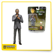 Gus Fring, the ruthless drug kingpin with the mild mannered, respectable exterior now joins the lineup of Mezcos Breaking Bad figures. A fan favorite, this 6inch scale figure wears one of his trademark suits and his ever-present glasses are removable. Dapper yet subdued, he appears harmless, but make no mistake, ice water flows through his veins and he can kill you without hesitation if you stand in his way. In addition to his removable glasses, he comes complete with ascale bucket of Los Pollos Hermanos fry batter and comes on a display friendly blister card