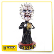 This addition to our popular Head Knockers line brings you Pinhead from the horror classic Hellraiser! The leader of the Cenobites is cast in resin and then hand painted for incredible detail. Stands 8″ tall and has a bobbling head accented with dozens of hand-inserted pins! A fun accent for any desk or shelf.