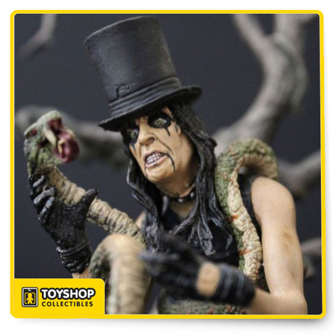 ong before the ghoulish antics of Marilyn Manson, Rob Zombie, and Ozzy gave parents something to worry about, the shrewd son of an Arizona minister, Vince Furnier--a.k.a. Alice Cooper--set the standard by which all other shock-rockers would forever be judged. Now McFarlane Toys, one of the acknowledged leaders in action-figure design and manufacture, presents this 6-inch articulated figure of the original Sultan of Shock Rock. Clad in his usual black leathers, Alice comes draped with a boa constrictor and can be posed in a diorama that includes the longtime centerpiece of his live show, a guillotine. There's even a severed Alice head in the set's basket. Other familiar accessories from his stage show include Alice's black top hat, spiders, a saber, and crutch. The figure is designed as a collector's display piece, but is sturdy enough for play.