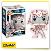 """Funko Pop! Movies: Tron! """"The ultimate tool can become the ultimate enemy."""" A computer programmer is transported into a computer mainframe and has to escape! In order to do so he must interact with various programs. This is none other than Disneys classic film Tron. Disneys Tron, now has a few characters joining Pop! This series features Tron the self-monitoring security program, and the evil program Sark! Both Pop!s hold discs from their fierce disc battle!"""