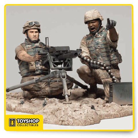 ARMY MK-19 GRENADE LAUNCHER GUNNER AND LOADER McFarlane's Military REDEPLOYED SERIES 2 Deluxe Boxed Set. The MK-19 had its genesis during the Vietnam War and was actually first used by the United States Navy on their gunboats to enhance their firepower and defenses. Based on a ground unit, this highly detailed box set features both the MK-19 gunner and the assistant gunner in action. All new deluxe boxed set features brand new 6 inch scale figures, a highly detailed MK-19 40mm grenade launcher and a detailed base. From McFarlane Toys