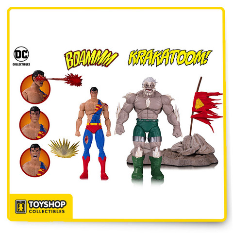 """Based on their appearance in the DC Comics """"The Death of Superman"""" storyline this deluxe set includes two highly detailed articulated 6 inch scale figures and a diorama rock base with cape flag. Also included with the set are two pairs of Superman hands, a closed eyes Superman head, a yelling Superman head and two effect parts."""