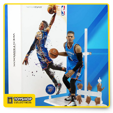 "Feature:  - Museum-quality Russell Westbrook head sculpt with authentic likeness, with ""multi-layer"" paint application.  - Specially developed advance 1:9 scale body, with 34 points of articulations, accurate physical appearance, the best mobility ever.  Accessories:  - 8 pieces of Russell Westbrook signature interchangeable hands.  - 1 / 9 scale Spalding basketball x 1 - Oklahoma City Thunder team official Away uniform x 1 - Black Arm Sleeve x 1 - A pair of Official Stance NBA socks - A pair of Russell Westbrook player edition sneaker  - New design figurine stand, figurine easily connected by magnet - Oklahoma City Thunder team logo moveable plate for stand x 1"