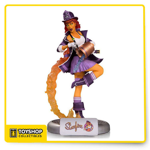 "Designed by Ant Lucia  Sculpted by Jack Mathews  Starfire sizzles in this new DC Bomshells statue as a firefighter in shades of purple and orange. All crafted from polyresin. Add her to your Bombshells collection today!Limited Edition of 5,000 Measures approximately 11.03"" tall"