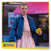 Spectacular likeness for Eleven sculpted from images of actress Millie Bobby Brown Figure comes with removable blonde wig, radio, and waffle Figure is featured in dress and jacket outfit worn by Eleven in Stranger Things Designed with 12+ points of articulation for dynamic posing Figure features a stylized Stranger Things branded display base and is showcased in retro themed packaging