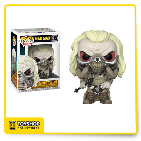"""Immortan Joe #515 (CHASE) - Mad Max: Fury Road Pop! Movies Vinyl Figure by Funko.  This listing is for the unmasked CHASE version of the Immortan Joe vinyl figure. The figure is in stock and ready to ship.    From Funko: """"Oh what a day! What a Lovely Day!"""" Funko is excited to introduce the post-apocalyptic world of Mad Max: Fury Road coming to Rock Candy, Mystery Minis, and Pop! vinyl! This series of Pop! vinyl features War Boy Nux, The Valkyrie, Coma Doof the blind guitarist, Lord of the Citadel Immortan Joe, his wife Capable, and Furiosa - complete with steering wheel to drive the war rig. In addition, Max himself! Look for the chase variants of Immortan Joe and Furiosa!"""