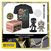 Box includes: Squirrel Girl Patch, Howard the Duck Shirt (Size L), Rhino Exclusive Pop, Black Panther Wacky Wobbler, and Rocket Raccoon Pen and Paper Set.