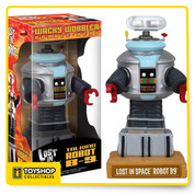 From the classic Irwin Allen science fiction television series, Lost in Space comes the iconic Class M3 Model B9 Robot talking bobble head! Robot B9 stands approximately 6 inches tall atop his name display base. The B9 Robot bobble head comes in a window box.