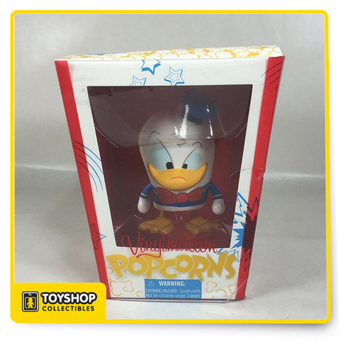 """Donald's looking all bent out of shape and about to go quackers at being included in the Popcorns series. The novel packaging is deliciously cute, but Donald won't be happy until you make him a part of your Vinylmation collection.  Features Exclusive Disney Theme Parks item Vinylmation is the original vinyl collectible figure inspired by the Disney Theme Parks Artist Maria Clapsis Vinyl 4 3/4"""" x 3 1/2"""" x 2 1/4"""" Details Package Dimensions: 7 x 6 x 5 inches Item Weight: 6.6 ounces Shipping Weight: 6.6 ounces Item model number: 32830 Manufacturer recommended age: 5 years and up"""