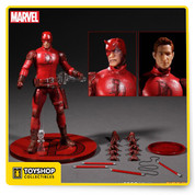 """Product Description Blinded by a radioactive liquid while saving a stranger, young Matt Murdock gains """"radar sense"""" and experiences heightened senses beyond normal human ability. After the brutal death of his Father, Matt Murdock donned his costume and became the man without fear—Daredevil. Lawyer by day and vigilante by night, Daredevil is the guardian of Hell's Kitchen.  Painstakingly developed to capture the iconic look of the heroic character and outfitted on a One:12 Collective body, the costume is intricately detailed. The final result is a seamless blend of a timeless hero with a """"real world"""" look.  Each figure is packaged in a deluxe, fifth panel window box with translucent acetate slipcover. Designed for collector convenience, the packaging allows for both maximum protection as well as ease of removal for display.  Product Features Hyper-realistic portraits 1:12 scaled, accurate real fabric uniform Sculpted shoulder and knee pads Billy club holster Super articulated body with over 32 points of articulation Box Contents Daredevil figure Standard masked portrait Battle damaged masked portrait Alternate unmasked Matt Murdock portrait Billy club holding hands version A (L&R) Billy club holding hands version B (L&R) Billy club holding hands version C (L&R) Posing hands version A (L&R) Posing hands version B (L&R) Fists (L&R)  Set of separate Billy clubs Billy clubs with poseable cable Sonar posing post clip-on accessory Display base with posing post"""