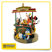 All aboard for fun with the Main Street U.S.A. Trolley Mickey Mouse Big Figure. Expressive Mickey, Minnie, Goofy, Pluto and Donald figures ride a horse drawn streetcar from Town Square to the hub of excitement. Relive those wonderful theme park memories everyday with this exciting Walt Disney World Resort sculpture.  Five separate and removable figurines  Plussed with metal and rope accents  Screen trolley art  Hand-painted sculpted resin, metal and rope  18 1/2'' H x 17'' W x 11 3/4'' D  Characters up to 14'' H  Imported Shipped in original manufacturers box container This is a Disney Theme Park exclusive item and cannot be found anywhere else.