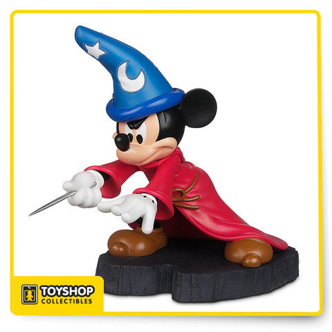 Highly expressive, fully-sculptured light-up Mickey figurine inspired by The Sorcerer's Apprentice segment of Walt Disney's animated classic Fantasia.  Features Exclusive Disney Theme Parks item Highly expressive, fully-sculptured figurine. Tiny LED lights outlining the symbols on Mickey's magic hat cycle through a rainbow of colors. Metallic paint accent on wand Inspired by The Sorcerer's Apprentice segment of Walt Disney's animated classic Fantasia. On/Off switch. Requires 3 x AAA batteries, included. Non-skid foot pads.