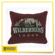 Disney Parks Wilderness Lodge Bear Throw Pillow Soft-stuffed throw pillow Features two sided pattern Wilderness Lodge Logo on one side and Mickey Icon with icat design on the other Polyester Made in USA