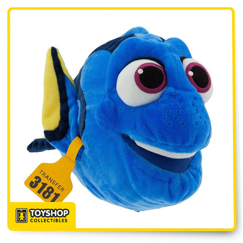 The forgetful star of PIXAR Finding Dory would love some memorable hugs. This detailed Dory Plush features a sparkling soft coat, and even includes a tag on her right fin, just like in the movie. Magic in the details  Detailed plush sculpturing Embroidered features Yellow tag on right fin Part of our Finding Dory Plush Collection Polyester