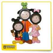 "Family Character Frame with room for your face on each character. Frame overall dimensions 8.75"" H x 6"" W Fits pics of 1.75"" Diameter Made from hard material Packed in Styrofoam casing in durable box."