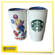 Epcot Exclusive Ceramic Holds 12 oz. Liquid Mickey Drawn With Spaceship Earth, Figment, Monorail, and Assorted Retro Epcot Ride Attraction Icons - Starbucks Logo on the Back Microwave & Dishwasher Safe Double Wall Construction - Blue Slide Lock/Open Lid Cover Exclusive Disney Starbucks Epcot Merchandise