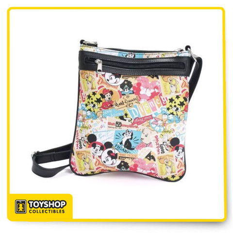 "Disney Parks Classic Collage Crossbody Bag Shows: Mickey, Minnie, Bambi and others! Great classic Disney print Faux leather body and adjustable strap 2 exterior zip pockets Lined interior with zip pocket 9""L x 10""H x 1""D"