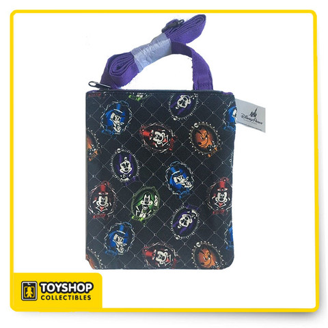 Halloween Cameos Mickey, Minnie, Donald, Goofy, and Pluto allover print Coordinating purple strap Zip top closure Interior zip pocket Fully lined 9'' H x 7 1/2'' W